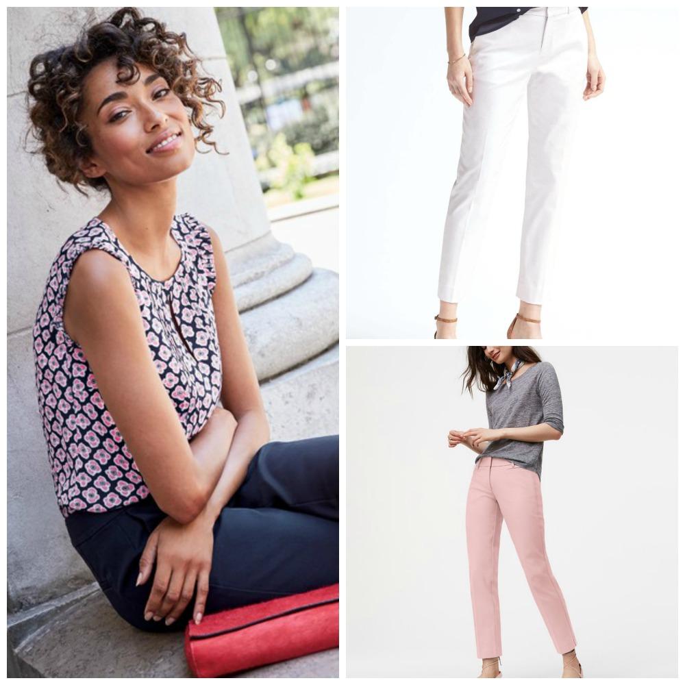 Boden USA Blouse, Banana Republic white ankle trousers, Ann Taylor LOFT blush pink skinny trousers