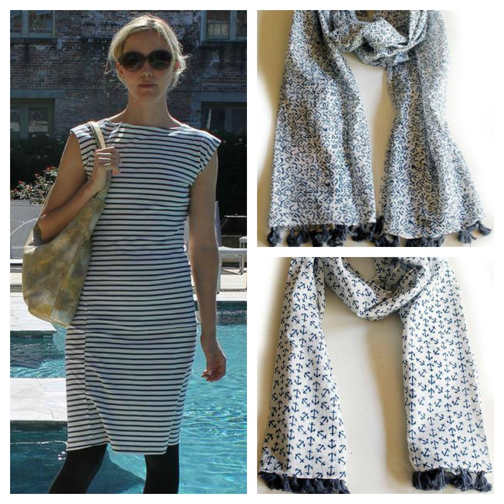 Good Cloth striped twist dress, fringed scarf and nautical fringed scarf