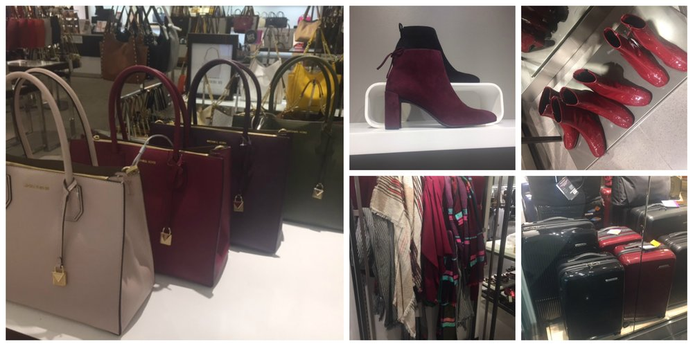 Main picture: Michael Kors at Macy's. Top left: boots at Stuart Weitzman, top right: boots at Zara. Bottom left: scarves at Zara, bottom right: suitcases at Luggage Plus.