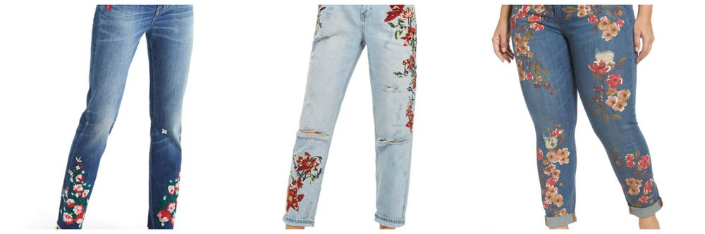 All at Nordstrom. L: Madewell high waist embroidered jeans. C: Topshop Fire Flower Ripped Mom Jeans. R: Melissa McCarthy Seven7 embroidered jeans in plus sizes.
