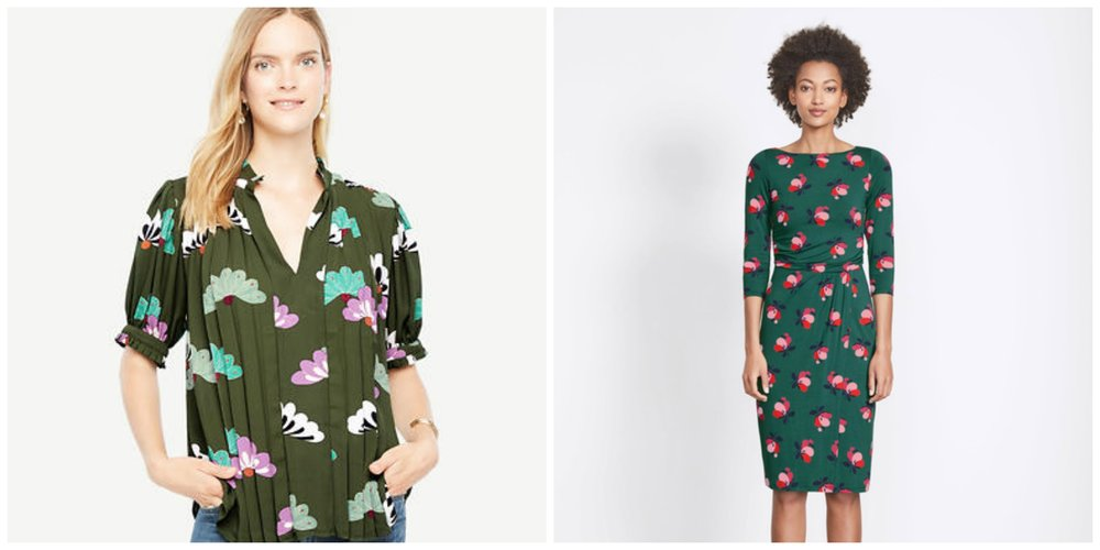 OK for most offices and nice transitional colors for summer into fall, and fall into winter. L: Ann Taylor floral popover, R: Boden 'Lottie' dress