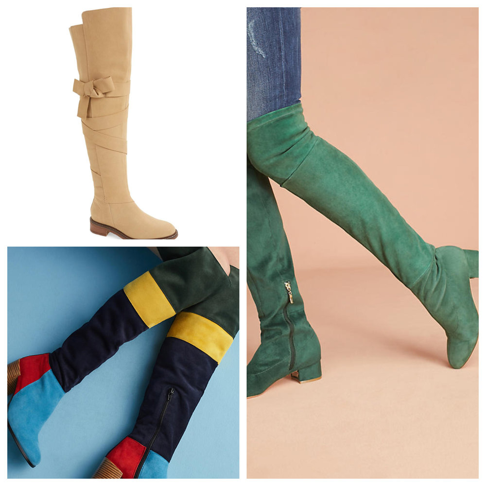 Top left: Kelsi Dagger 'Colby' at Nordstrom, bottom left: colorblock (what fun!) at Anthropologie. Right: green suede at Anthropologie.