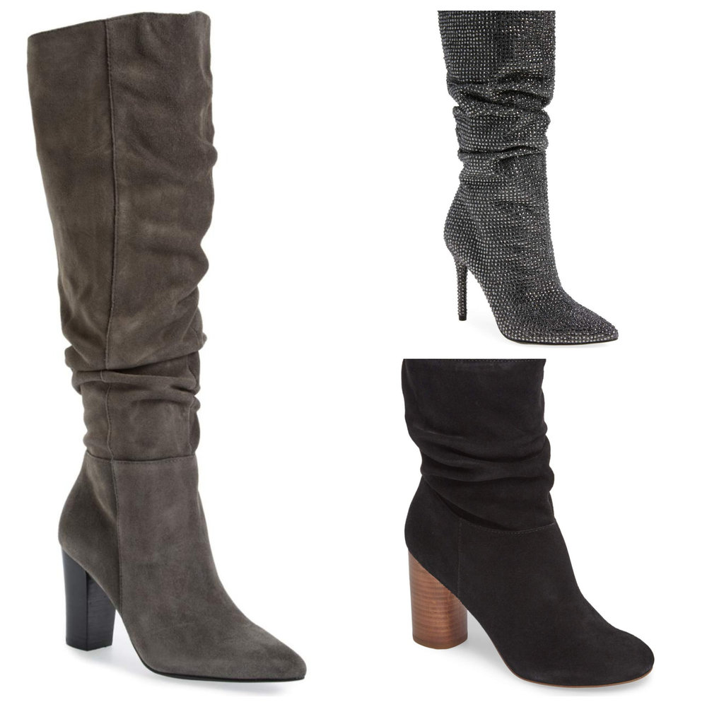Left: Treasure & Bond x something. Top right: Jessica Simpson Layzer boots, bottom right: Sole Society Belen Slouchy bootie. All at Nordstrom.