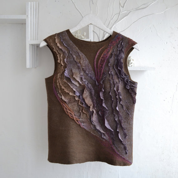 brown felted vest