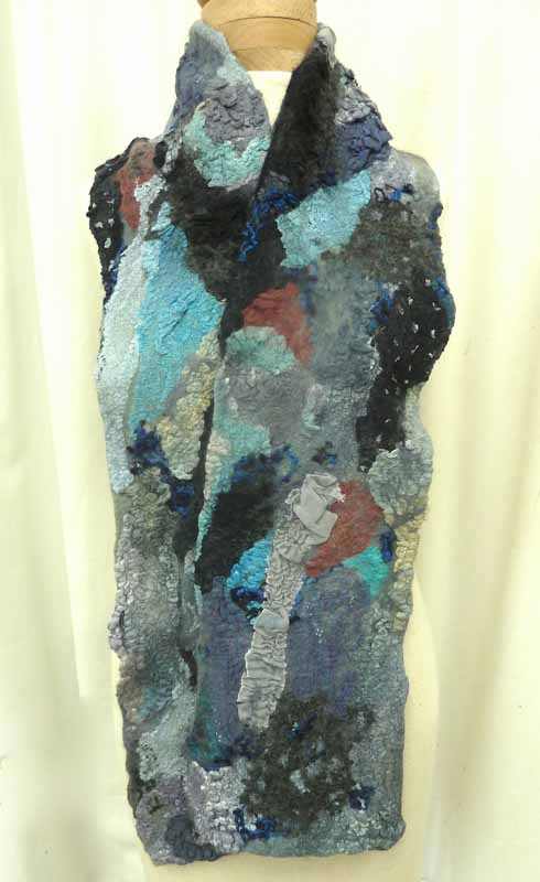 blue-gray collage felt scarf