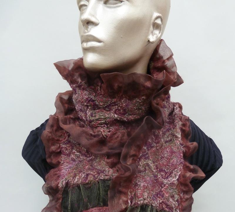 cranberry felt scarf