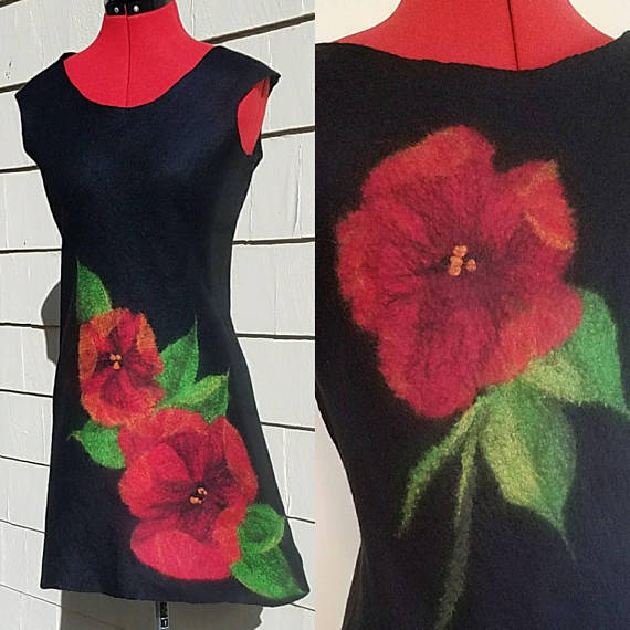 black felt dress with poppy design