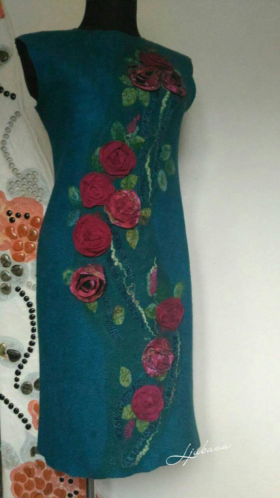 teal floral silk and felt dress