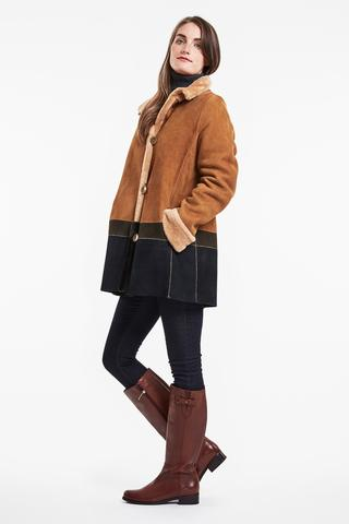 color block shearling coat