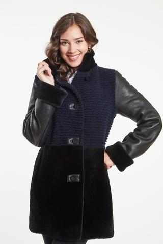 grooved shearling jacket in navy and black