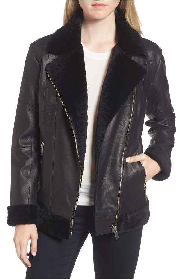 Trouve shearling moto jacket