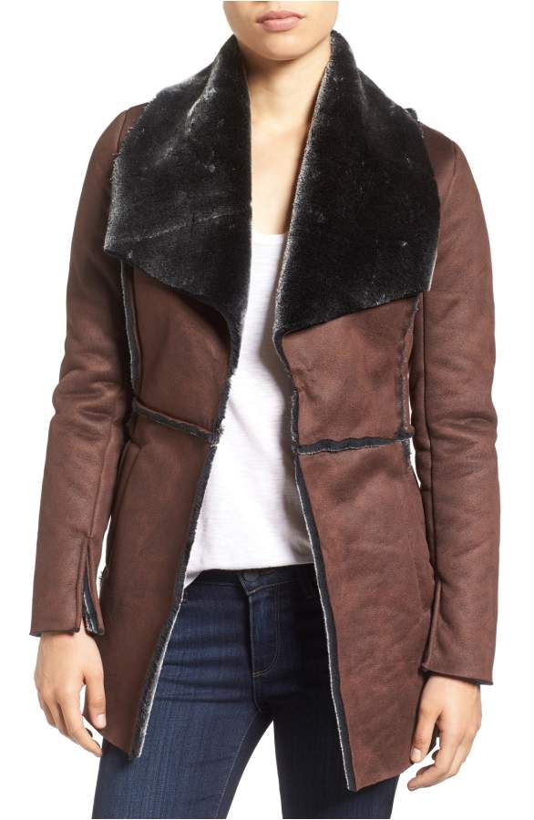 faux shearling black and brown jacket