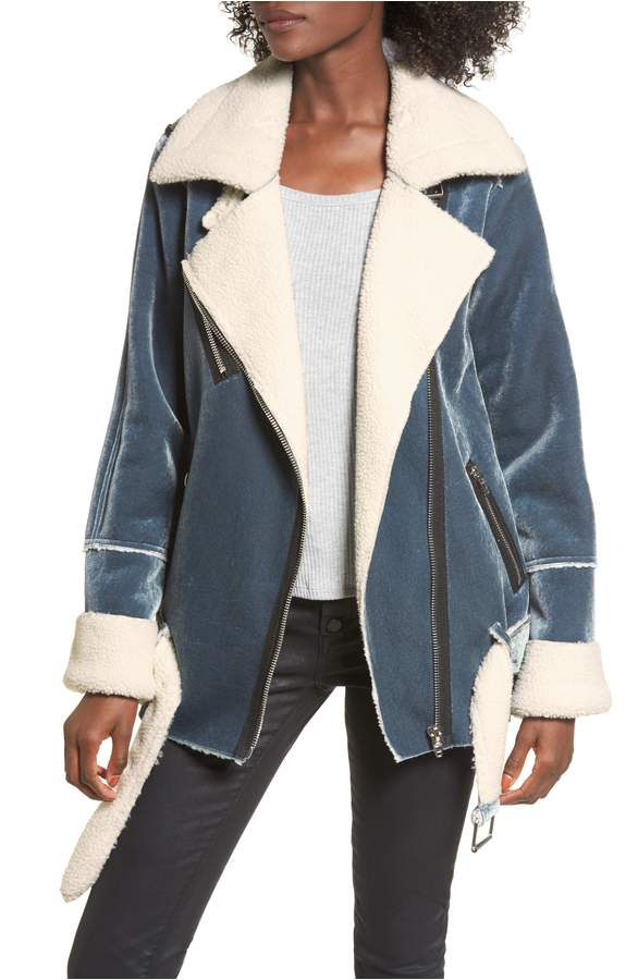 faux shearling and blue velvet jacket