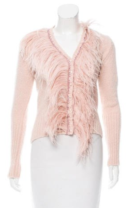 feather trimmed cardigan