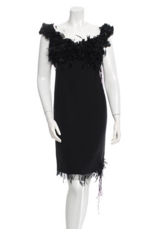 ralph rucci feathered dress