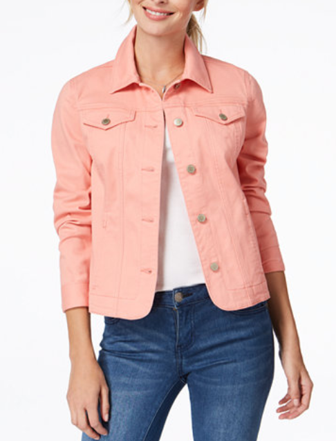 Charter Club peach jean jacket