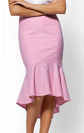 NY & Co pink flounced pencil skirt