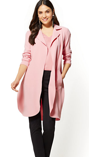 NY & Co long pink jacket