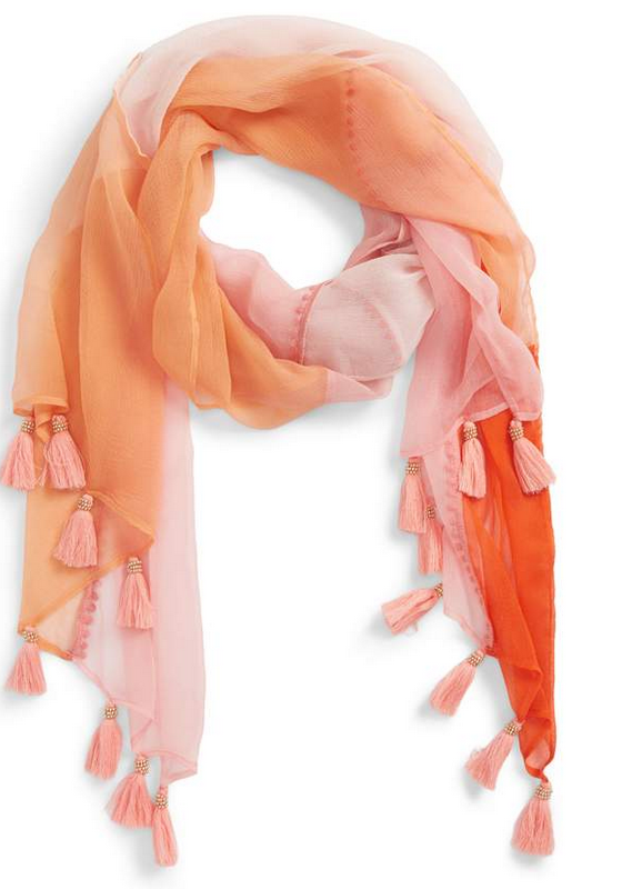 peach tasseled and beaded scarf