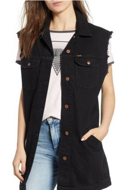 Wrangler long line sleeveless denim jacket