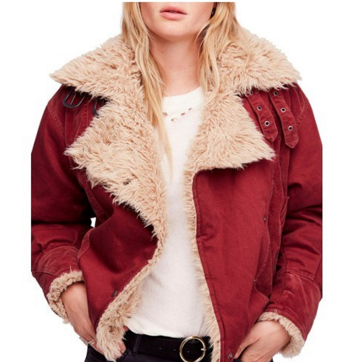 Free People faux shearling jacket in wine