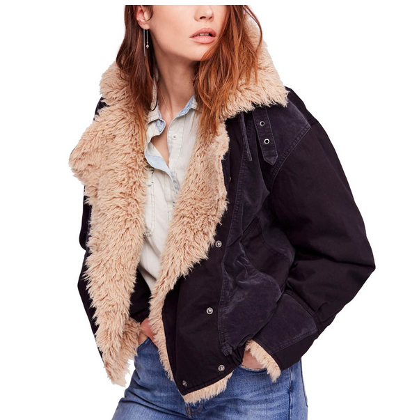 Free People faux shearling jacket in black
