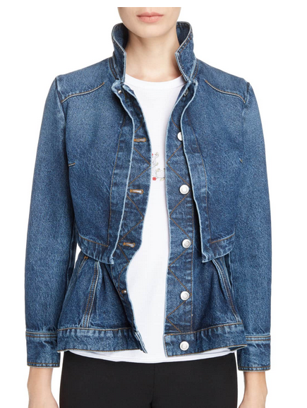 Alexander McQueen peplum denim jacket front