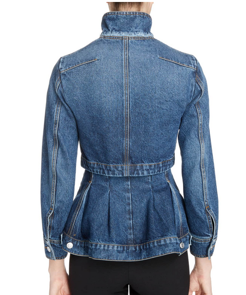 Alexander McQueen peplum denim jacket back