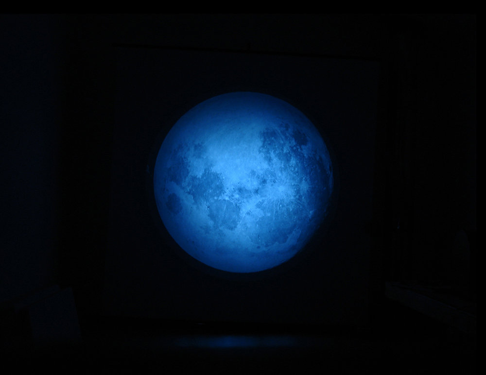 illuminations, 2007, magic lantern, original glass slide of moon 1890, solar torch, digital projection