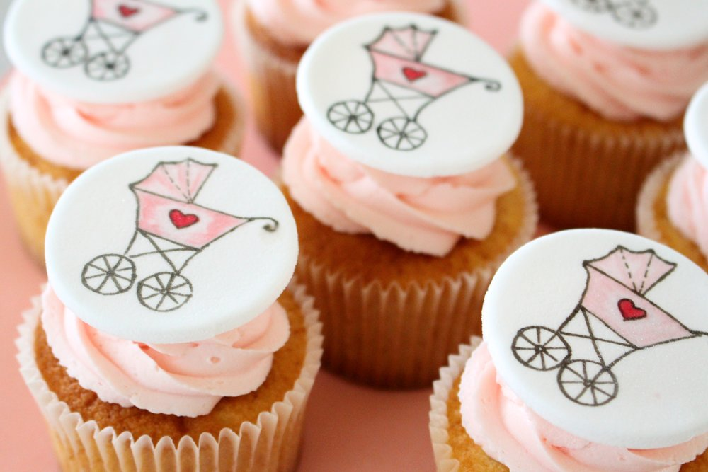 Hand-painted baby shower cupcakes