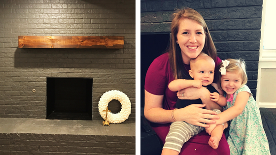 Left: painted fireplace with mantle, Right: Krista and kids