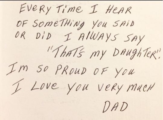 A message in a birthday card from Dad