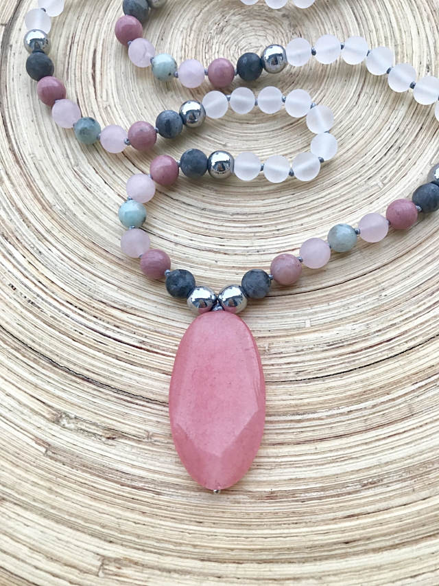 Pink Pendant with gemstone beads Mala Beads and lava beads for essential oil use