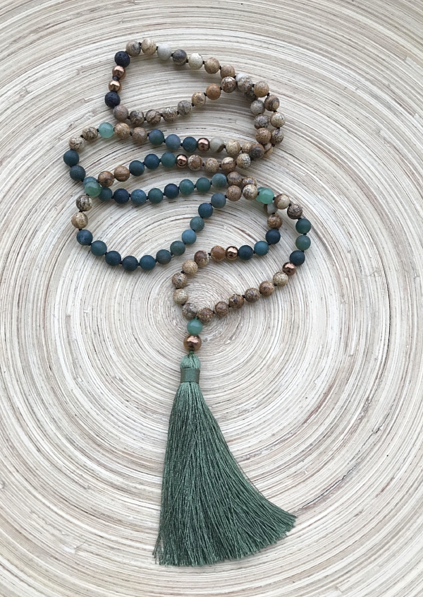 """I Am Rooted"" Mala Necklace. Click on the image for more info."