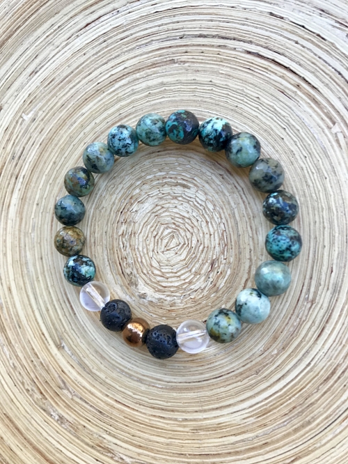 I Am Compassionate african turquoise mala bracelet made with lava beads for essential oil use