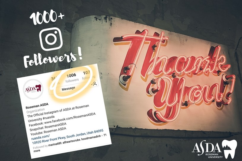 We broke the 1000 followers barrier on Instagram! Thank you to all our followers for helping us go Above & Beyond while sharing our  #ASDAfever  🚀  #ASDAnet  #RUASDA   @dentalstudents