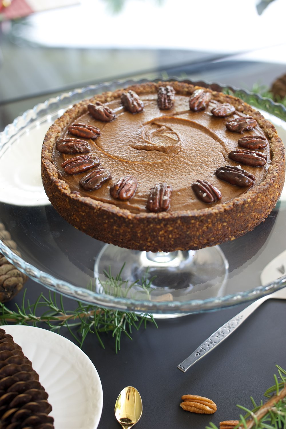Pumpkin Pie with Caramelised Pecans
