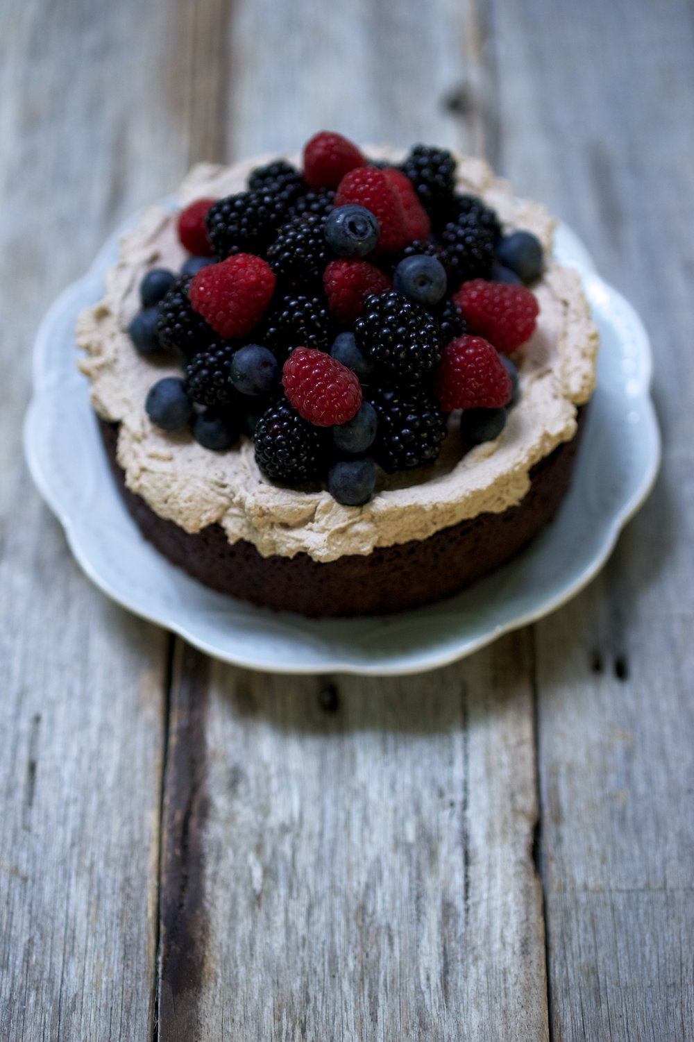 Mud Cake with Mocha Cream and Berries
