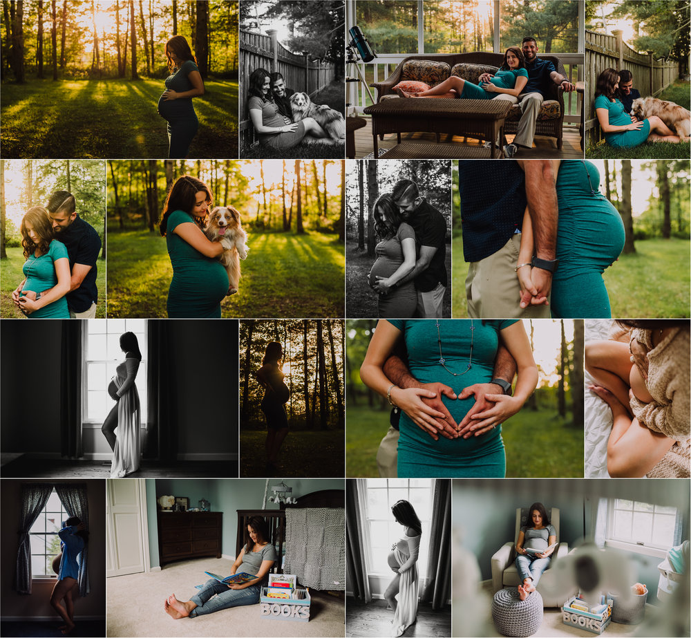 maternity session photo grid outdoors at sunset and indoors belly open dress washington dc