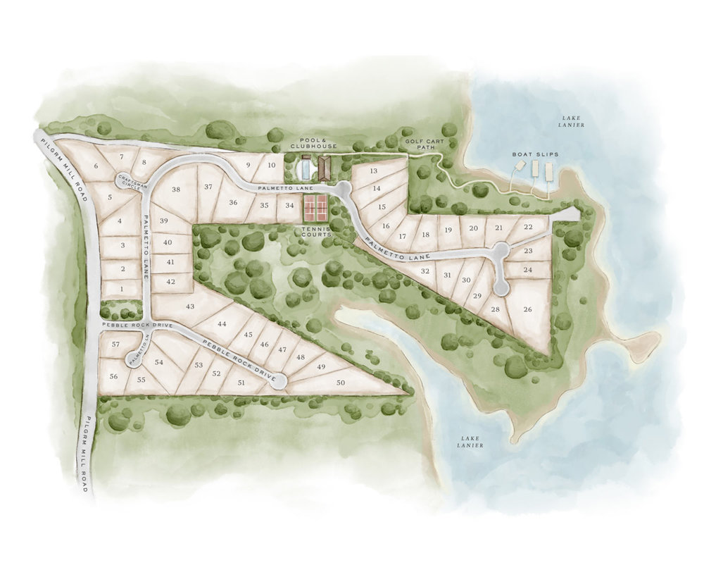 Site Map - Exclusive yet approachable, Hickory Lakeside will bring a new level of design and sophistication to Lake Lanier to foster outdoor leisure, enjoyment and relaxation for ideal lake living.Taking advantage of the natural surroundings and vistas, home sites will be offered in three types of settings: Cottage Lots, Forest View Lots, and Lake View Lots.