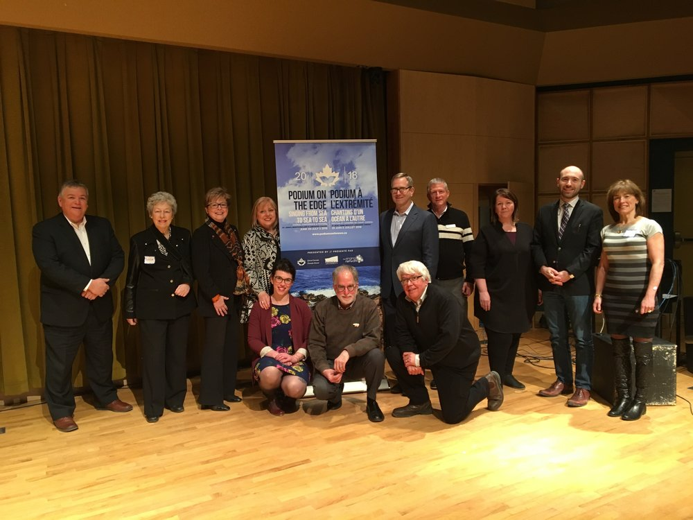 From left/de gauche à droite: Dr. Gerald Galway, Faculty of Education; Patricia Young, founding president of the NL Choral Federation; Dr. Susan Knight, Chancellor of Memorial University; Dr. Andrea Rose, Co-Chair; Dr. Kiera Galway, Project Manager; Ki Adams, Co-Chair; Dr. Doug Dunsmore, Past-President, Choral Canada; Todd Estabrook, Chorus America; Tim Callahan-Cross, Executive Director, NSCF; Kellie Walsh, Co-Chair; Dr. Ian Sutherland, Dean, School of Music; Dr. Gillian Peters, Chair, Bruneau Centre for Excellence in Choral Music