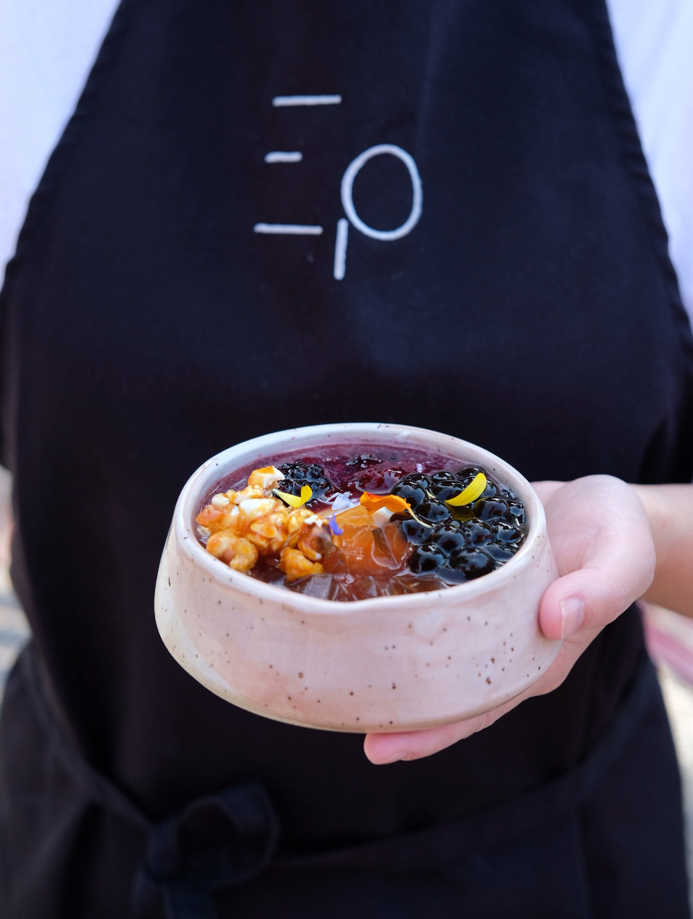 Week 3 Blackberry compote, Earl Grey tea jelly, Salted caramel popcorn, Tapioca pearls, Lavender syrup, Rosemary syrup, Ginger syrup
