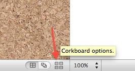 Corkboard options icon.