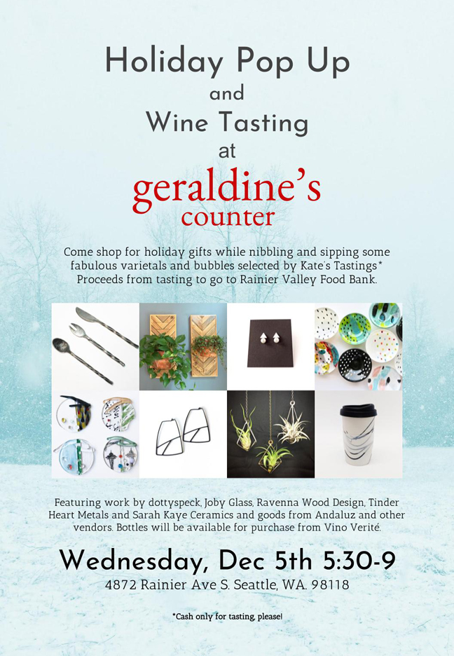 Wednesday 12/5 from 5:30-9PM, at Geraldine's Counter 4872 Rainier Ave S.
