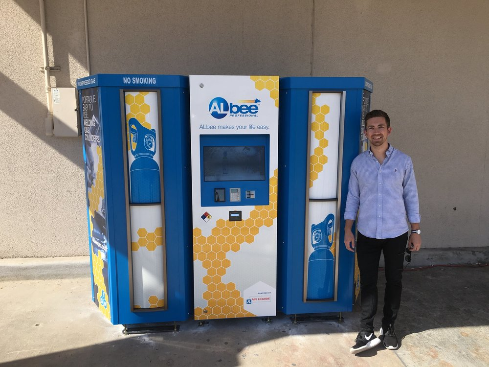 I led the design and development of ALbee — a vending machine for packaged gases. -