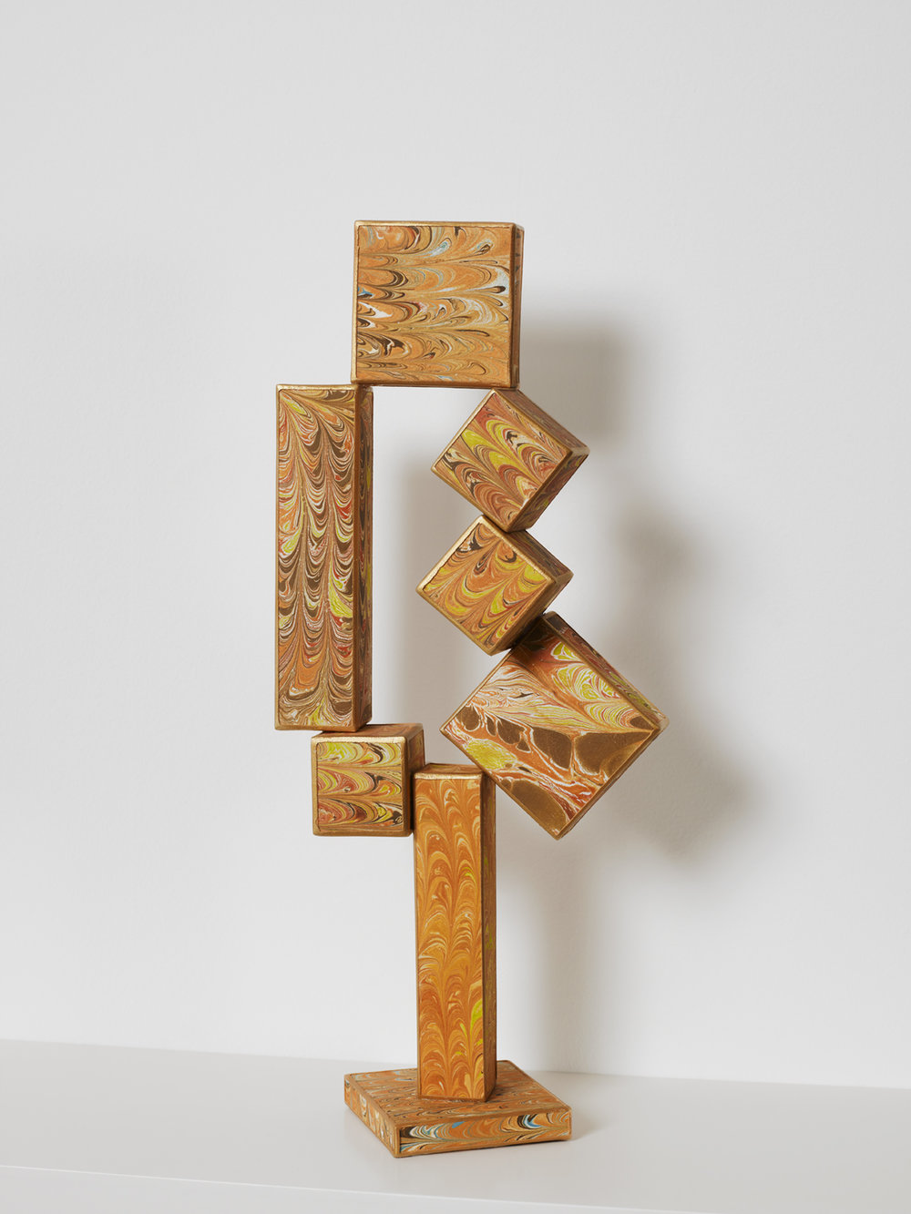 No side to fall in (Cubi XII), 2012, paper, acrylic, wooden armature, 18 1/2 x 7 x 3 inches
