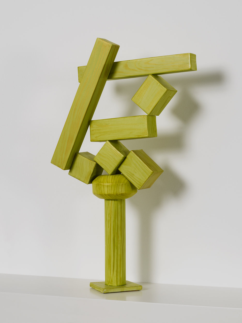 Old enough to repaint but young enough to sell (Cubi XVIII), 2011, paper, acrylic, wooden armature, 18 5/8 x 11 1/2 x 4 1/2 inches