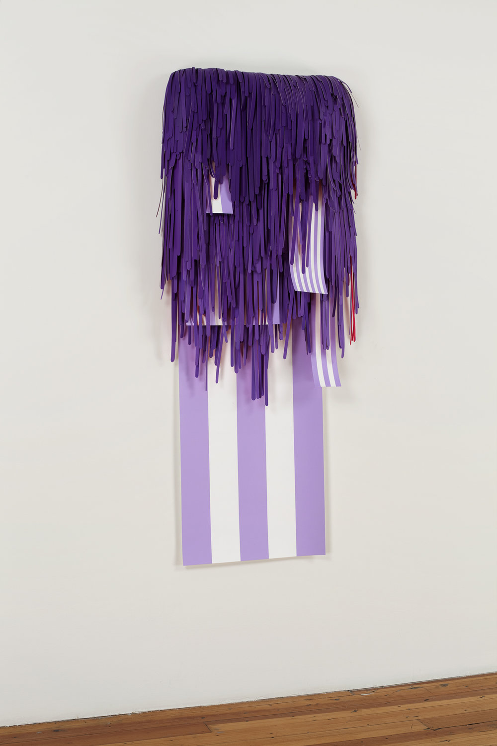 Synchronicity Spoken Here (Purple Monochrome with Junk in the Trunk/ L.H.O.O.Q. with Maxi Stripes) , 2009, acrylic on cut paper, paper-mâché, plastic, foam, 56 x 24 x 5 inches