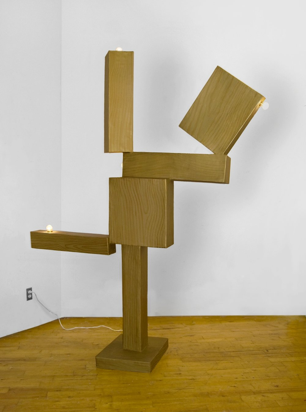 Goldrush (Cubi V) , 2013, acyrlic, papier mache, cardboard, plaster, lights, wood, 89 x 47 x 22 inches