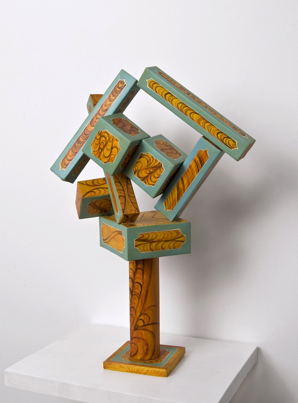 Panter (Cubi XVII) , 2011, paper, acrylic, wooden armature, 14 x 9 1/2 x 5 inches